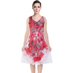Flower Roses Heart Art Abstract V Neck Midi Sleeveless Dress  by Nexatart