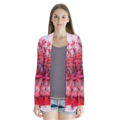 Flower Roses Heart Art Abstract Drape Collar Cardigan by Nexatart