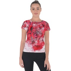 Flower Roses Heart Art Abstract Short Sleeve Sports Top