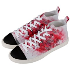 Flower Roses Heart Art Abstract Men s Mid Top Canvas Sneakers by Nexatart