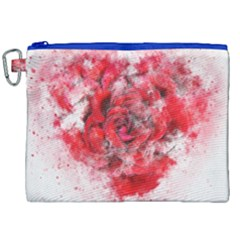 Flower Roses Heart Art Abstract Canvas Cosmetic Bag (xxl) by Nexatart