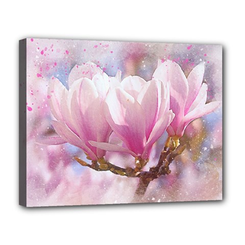 Flowers Magnolia Art Abstract Canvas 14  X 11  by Nexatart