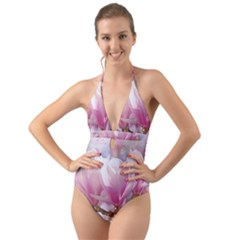 Flowers Magnolia Art Abstract Halter Cut Out One Piece Swimsuit by Nexatart