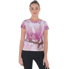 Flowers Magnolia Art Abstract Short Sleeve Sports Top  by Nexatart