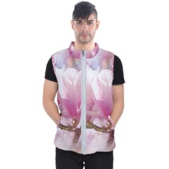 Flowers Magnolia Art Abstract Men s Puffer Vest
