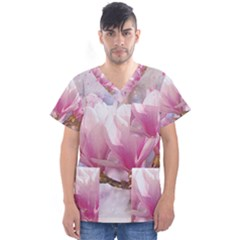 Flowers Magnolia Art Abstract Men s V Neck Scrub Top by Nexatart