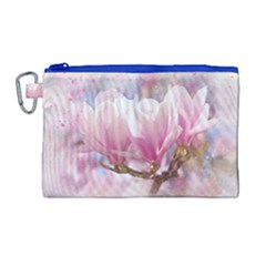 Flowers Magnolia Art Abstract Canvas Cosmetic Bag (large) by Nexatart