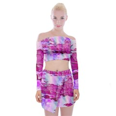 Background Crack Art Abstract Off Shoulder Top With Mini Skirt Set