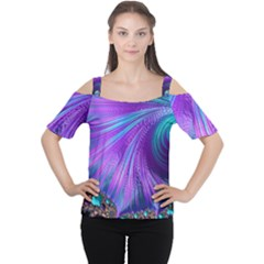 Abstract Fractal Fractal Structures Cutout Shoulder Tee