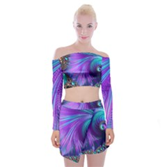 Abstract Fractal Fractal Structures Off Shoulder Top With Mini Skirt Set