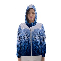 Nature Inspiration Trees Blue Hooded Wind Breaker (women)