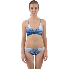 Nature Inspiration Trees Blue Wrap Around Bikini Set