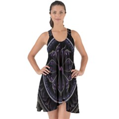 Fractal Abstract Purple Majesty Show Some Back Chiffon Dress