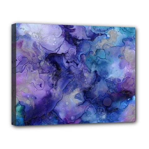 Ink Background Swirl Blue Purple Canvas 14  X 11
