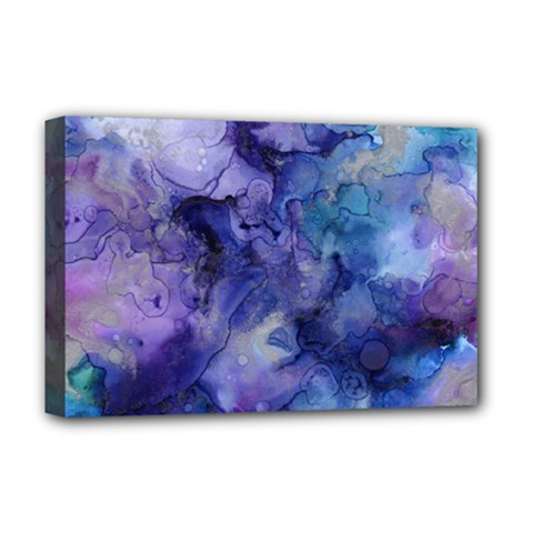 Ink Background Swirl Blue Purple Deluxe Canvas 18  X 12   by Nexatart