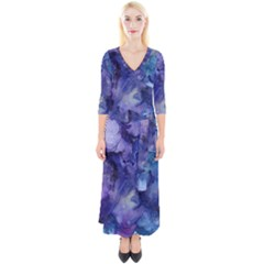 Ink Background Swirl Blue Purple Quarter Sleeve Wrap Maxi Dress