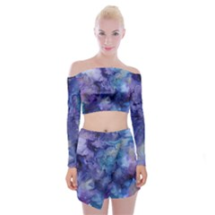 Ink Background Swirl Blue Purple Off Shoulder Top With Mini Skirt Set by Nexatart