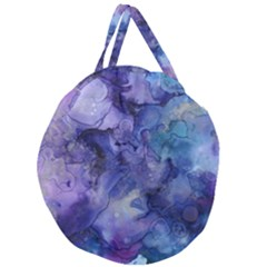 Ink Background Swirl Blue Purple Giant Round Zipper Tote