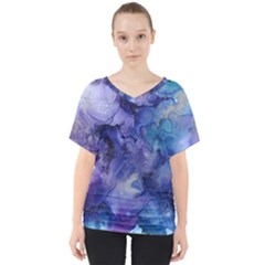 Ink Background Swirl Blue Purple V Neck Dolman Drape Top