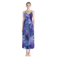 Ink Background Swirl Blue Purple Button Up Chiffon Maxi Dress