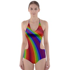 Abstract Pattern Lines Wave Cut Out One Piece Swimsuit