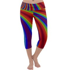 Abstract Pattern Lines Wave Capri Yoga Leggings