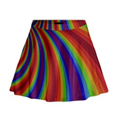 Abstract Pattern Lines Wave Mini Flare Skirt