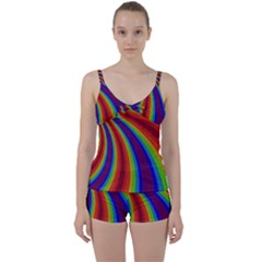 Abstract Pattern Lines Wave Tie Front Two Piece Tankini