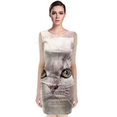 Cat Pet Cute Art Abstract Vintage Classic Sleeveless Midi Dress