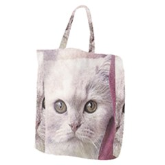 Cat Pet Cute Art Abstract Vintage Giant Grocery Zipper Tote