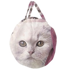 Cat Pet Cute Art Abstract Vintage Giant Round Zipper Tote
