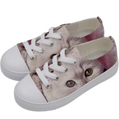 Cat Pet Cute Art Abstract Vintage Kids  Low Top Canvas Sneakers by Nexatart