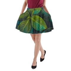 Green Plant Leaf Foliage Nature A Line Pocket Skirt by Nexatart