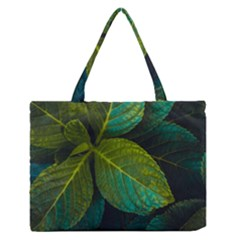 Green Plant Leaf Foliage Nature Zipper Medium Tote Bag by Nexatart
