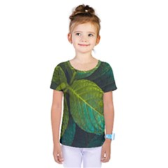 Green Plant Leaf Foliage Nature Kids  One Piece Tee by Nexatart