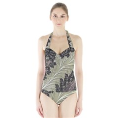 Pattern Decoration Retro Halter Swimsuit