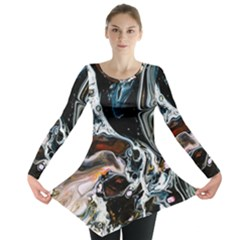 Abstract Flow River Black Long Sleeve Tunic