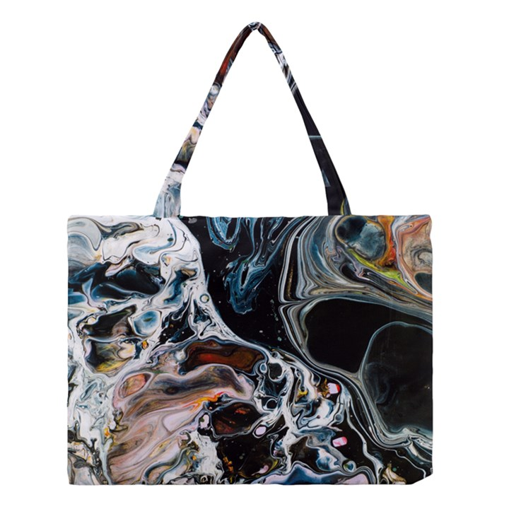 Abstract Flow River Black Medium Tote Bag