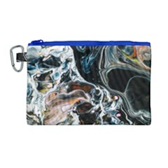 Abstract Flow River Black Canvas Cosmetic Bag (large) by Nexatart