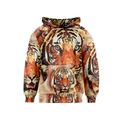 Tiger Portrait Art Abstract Kids  Pullover Hoodie by Nexatart