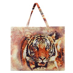 Tiger Portrait Art Abstract Zipper Large Tote Bag by Nexatart