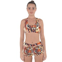 Tiger Portrait Art Abstract Racerback Boyleg Bikini Set