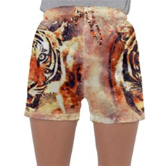Tiger Portrait Art Abstract Sleepwear Shorts