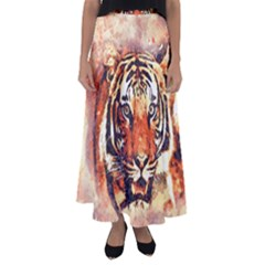 Tiger Portrait Art Abstract Flared Maxi Skirt