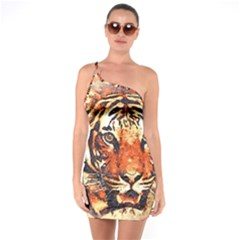 Tiger Portrait Art Abstract One Soulder Bodycon Dress by Nexatart