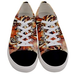Tiger Portrait Art Abstract Women s Low Top Canvas Sneakers