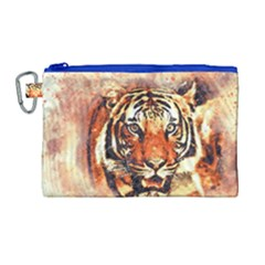 Tiger Portrait Art Abstract Canvas Cosmetic Bag (large) by Nexatart