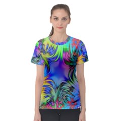 Star Abstract Colorful Fireworks Women s Sport Mesh Tee