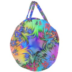 Star Abstract Colorful Fireworks Giant Round Zipper Tote