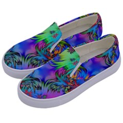 Star Abstract Colorful Fireworks Kids  Canvas Slip Ons by Nexatart